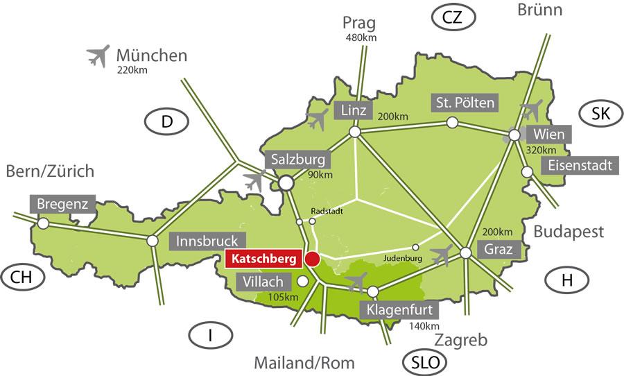 Grenzübergänge österreich Karte